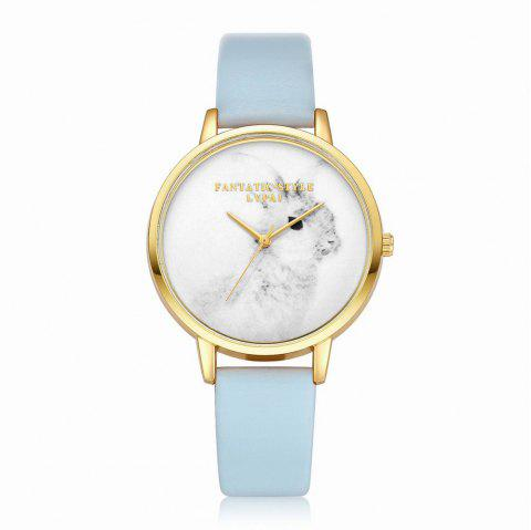 Lvpai P088-G Women Fashion Leather Band Rabbit Picture Quartz Watches - SKY BLUE