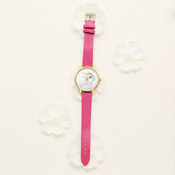 Lvpai P088-G Women Fashion Leather Band Rabbit Picture Quartz Watches - ROSE RED
