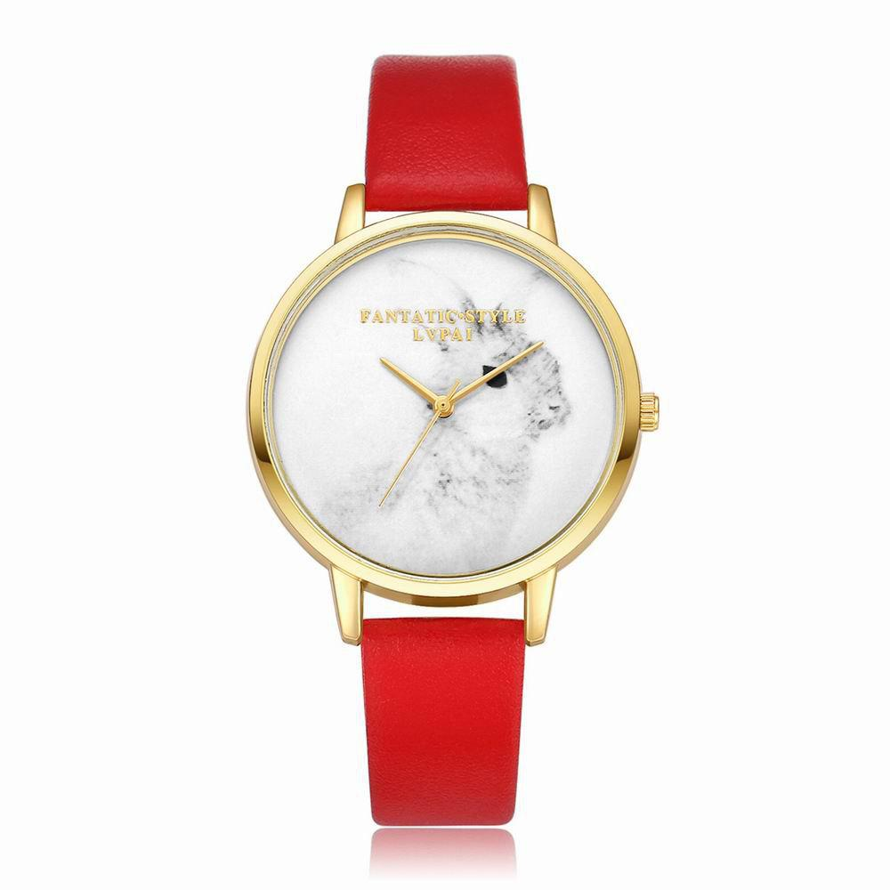 Lvpai P088-G Women Fashion Leather Band Rabbit Picture Quartz Watches - RED