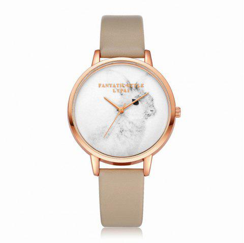 Lvpai P088-R Women Fashion Leather Band Rabbit Picture Quartz Watches - BEIGE