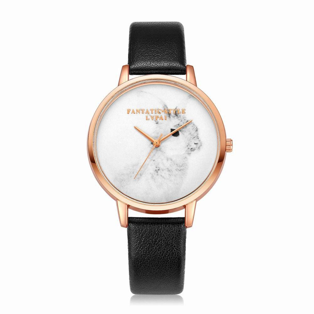 Lvpai P088-R Women Fashion Leather Band Rabbit Picture Quartz Watches - BLACK