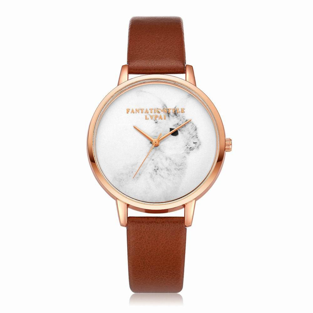 Lvpai P088-R Women Fashion Leather Band Rabbit Picture Quartz Watches - COFFEE