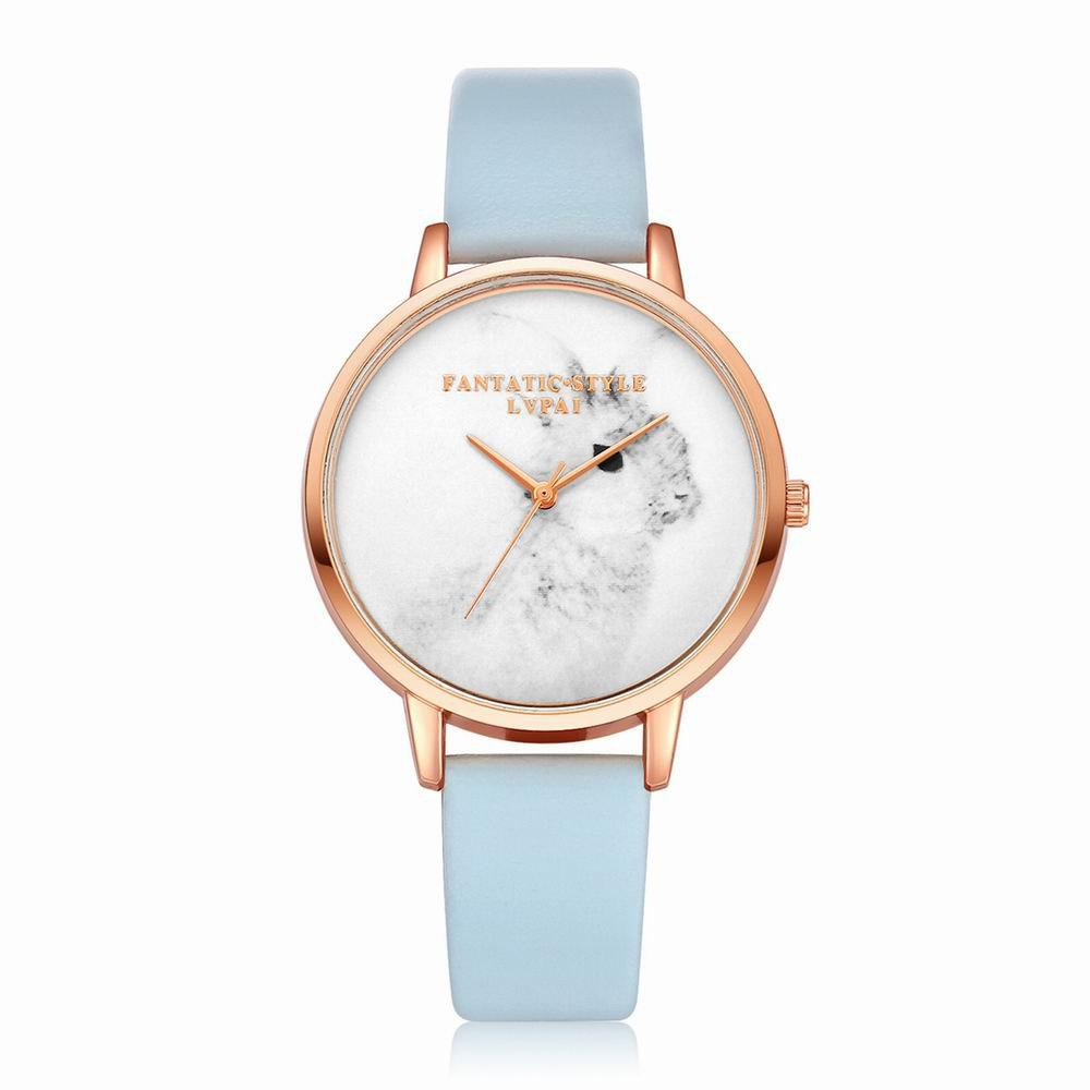 Lvpai P088-R Women Fashion Leather Band Rabbit Picture Quartz Watches - SKY BLUE