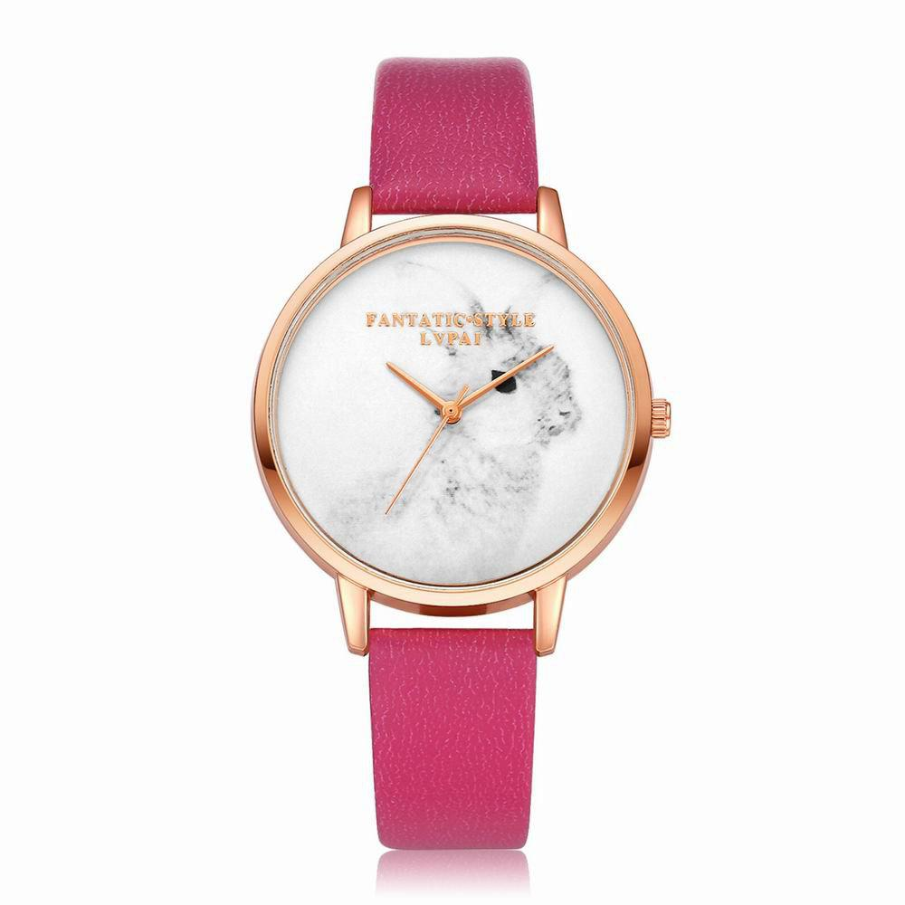 Lvpai P088-R Women Fashion Leather Band Rabbit Picture Quartz Watches - ROSE RED
