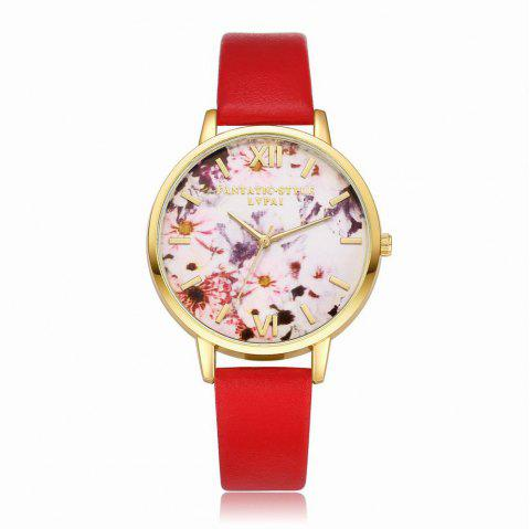 Lvpai P089-G Women Fashion Leather Band Flowers Dial Quartz Watches - RED