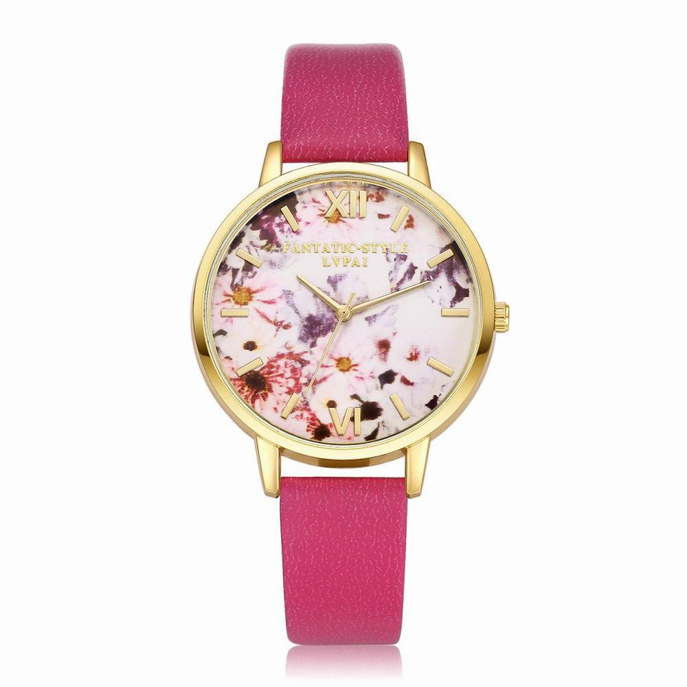 Lvpai P089-G Women Fashion Leather Band Flowers Dial Quartz Watches - ROSE RED