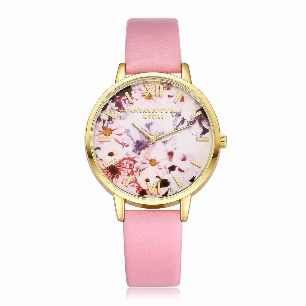 Lvpai P089-G Women Fashion Leather Band Flowers Dial Quartz Watches - PINK