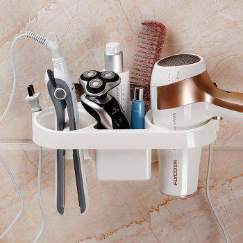 Storage Rack Plastic Hair Dryer Holder Bathroom Wall Storage Rack Electric Plywood Comb Hair Straightener Holder -  WHITE