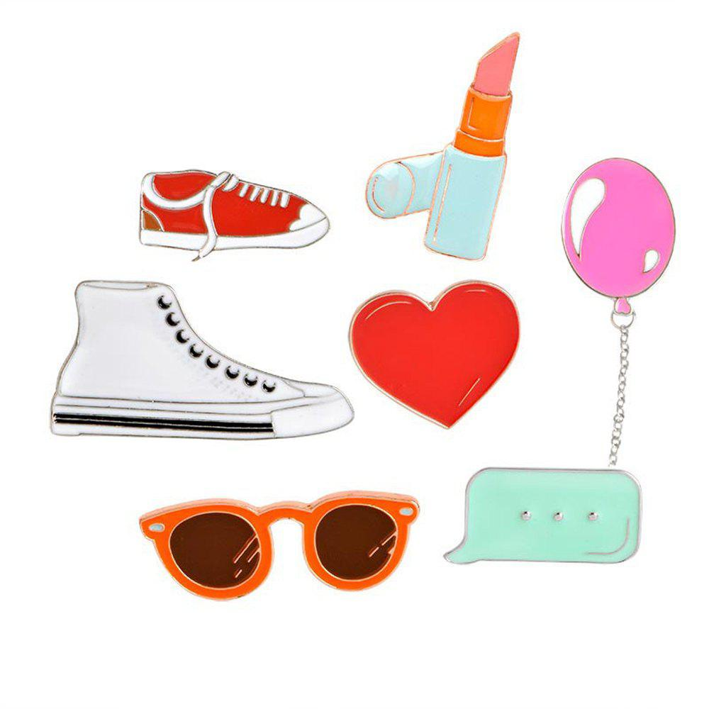 Heart Lipstick Balloon Sneakers Sunglasses Brooch Button Clasp Coat Pin Badge Gift Cartoon Jewelry - COLORMIX