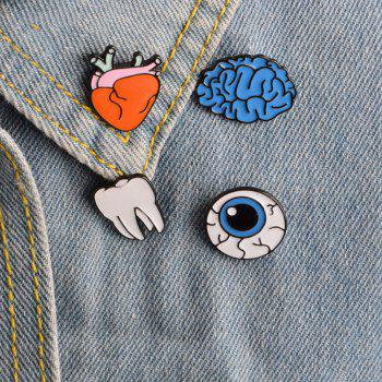 Brain Cartoon Organ Eye Metal Tooth Brooch Button Pins Pins Bag T Shirt Denim Jacket Badge Pin Fashion Jewelry -  COLORMIX