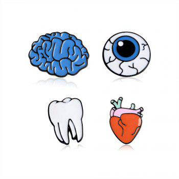 Brain Cartoon Organ Eye Metal Tooth Brooch Button Pins Pins Bag T Shirt Denim Jacket Badge Pin Fashion Jewelry - COLORMIX COLORMIX
