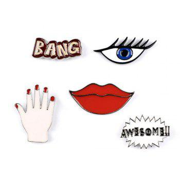 Fashion Woman Collar Shirt Brooch Set Sexy Red Lipstick Hand Set Eye Brooches for Women Jewelry - COLORMIX COLORMIX