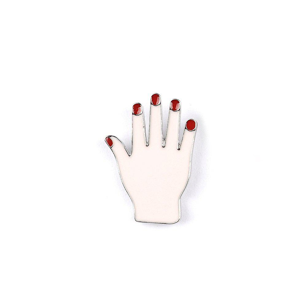 Fashion Woman Collar Shirt Brooch Set Sexy Red Lipstick Hand Set Eye Brooches for Women Jewelry - COLORMIX