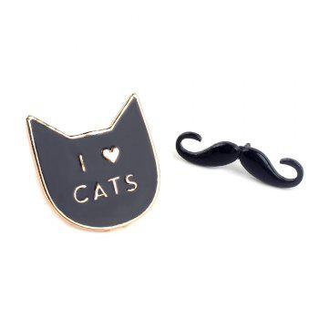 Cartoon Sunglasses Mustache  Cats  Nopal Set of Metal Brooches Button Pins Lapel Pins Pin Jewelry - COLORMIX