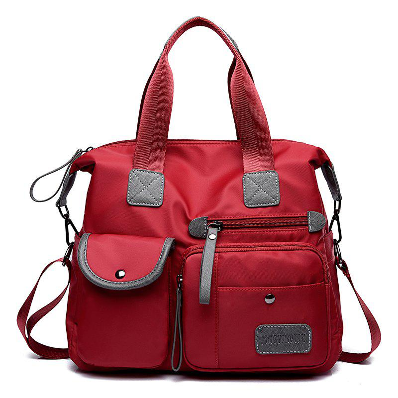 Women'S Shoulder Nylon Oxford Handbag Messenger Bag Bulk Mummy Bag - RED
