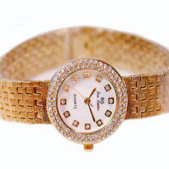 Top Luxury Women Gold Fashion Lady Diamond Silver Girl Smart Rhinestone Wrist Quartz Watch - GOLDEN