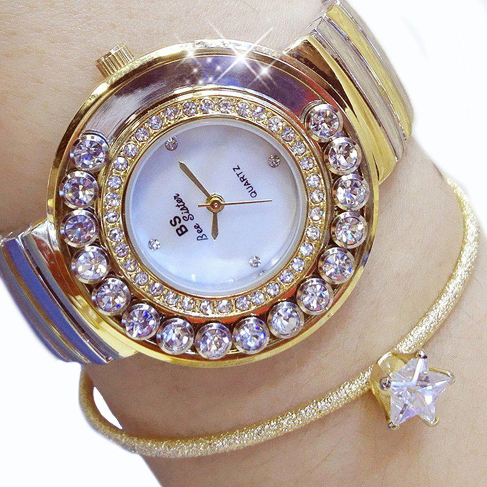 Luxury Watches Fashion Women Steel Diamond Table Dress Lady Wrist Rhinestone Watches - GOLDEN