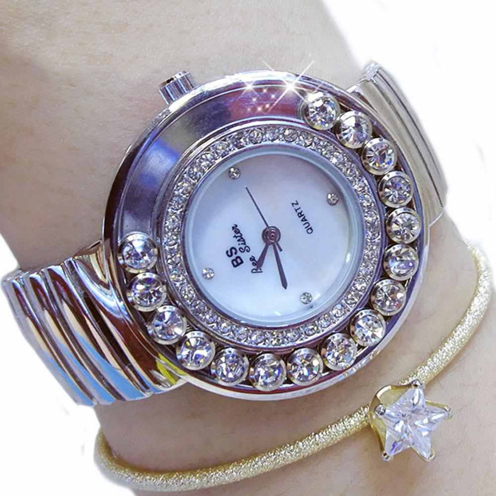 Luxury Watches Fashion Women Steel Diamond Table Dress Lady Wrist Rhinestone Watches - SILVER