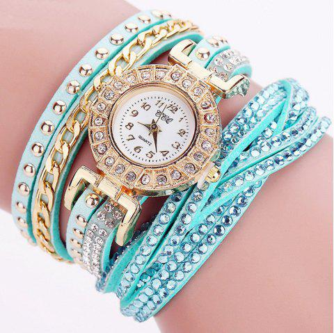 Women  Fashion Gold  Fashion Rhinestones Crystal Bracelet  Dress Ladies  Quartz Watches - LIGHT BLUE