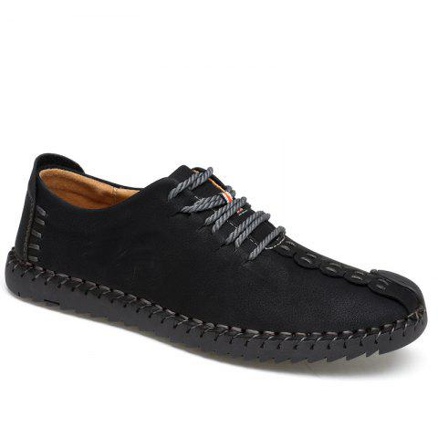 New Large Size Casual Outdoor Handmade Leather Retro Fashion Men British Shoes - BLACK 40