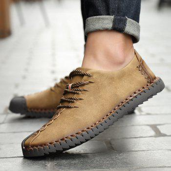 New Large Size Casual Outdoor Handmade Leather Retro Fashion Men British Shoes - KHAKI 44