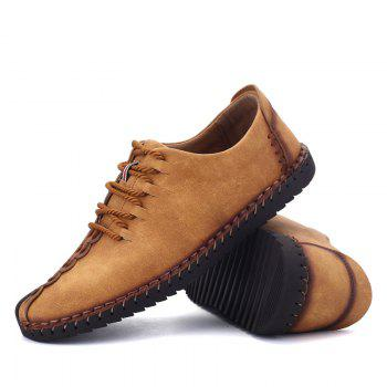 New Large Size Casual Outdoor Handmade Leather Retro Fashion Men British Shoes - EARTHY 44