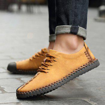 New Large Size Casual Outdoor Handmade Leather Retro Fashion Men British Shoes - EARTHY 42
