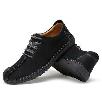 New Large Size Casual Outdoor Handmade Leather Retro Fashion Men British Shoes - BLACK 42