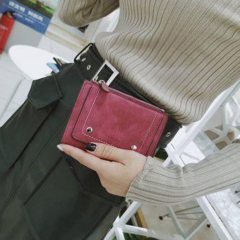 Short Paragraph Small Fresh Folding Multi-Function Purse -  WINE RED