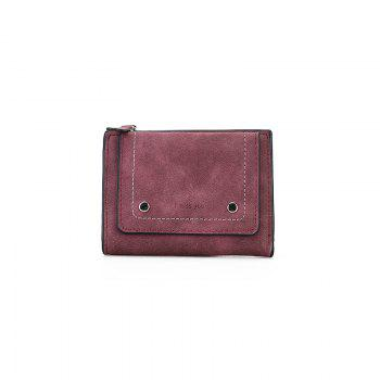 Short Paragraph Small Fresh Folding Multi-Function Purse - WINE RED WINE RED