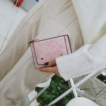 Short Paragraph Small Fresh Folding Multi-Function Purse -  PINK