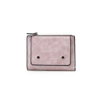 Short Paragraph Small Fresh Folding Multi-Function Purse - PINK PINK