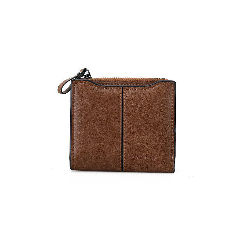 Short Section of The New Short Paragraph Multi-Function High-Capacity Coin Purse - BROWN
