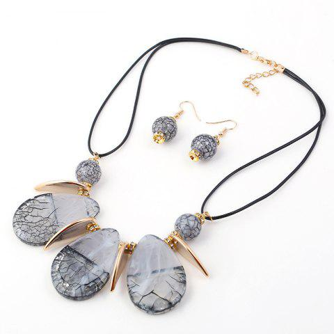 b99033eb5cde 2018 New Design Boho Classic Big Water-Drop Resin Pendents Necklace Fashion  Charm Set Necklace