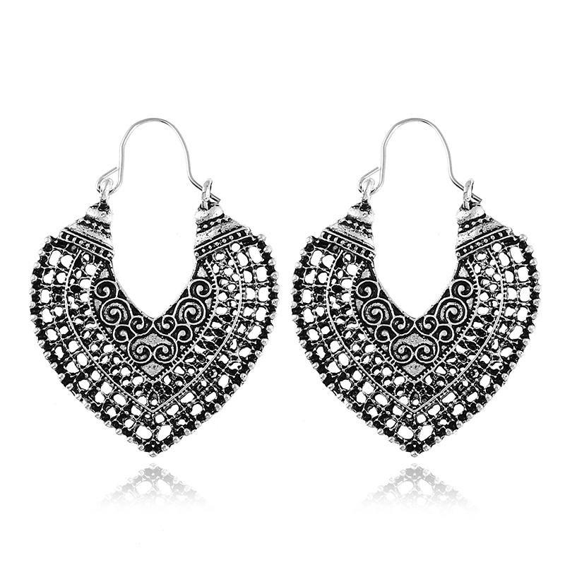 New Fashion Jewelry Vintage Classic Style Oxidation Treatment Black Plating National Pattern Women Drop Earrings - SILVER BLACK