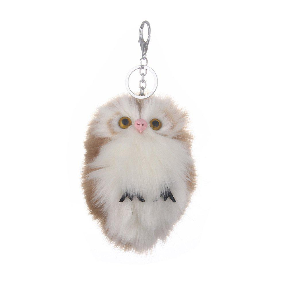 Soft Cute Handbag Car Keychain Owl Pendant Pompom Fluffy Bag Gift - KHAKI