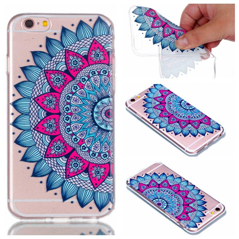 for Iphone 6S Mandala Painted Soft Clear TPU Phone Casing Mobile Smartphone Cover Shell Case - COLOUR