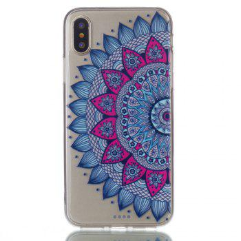 for Iphone X Mandala Painted Soft Clear TPU Phone Casing Mobile Smartphone Cover Shell Case - COLOUR