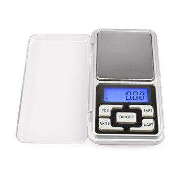 500g/0.1g Mini Electronic Digi Mini Electronic Digital Pocket Scale Jewelry Weighing Balance Counting Function Blue LCD - SILVER SILVER