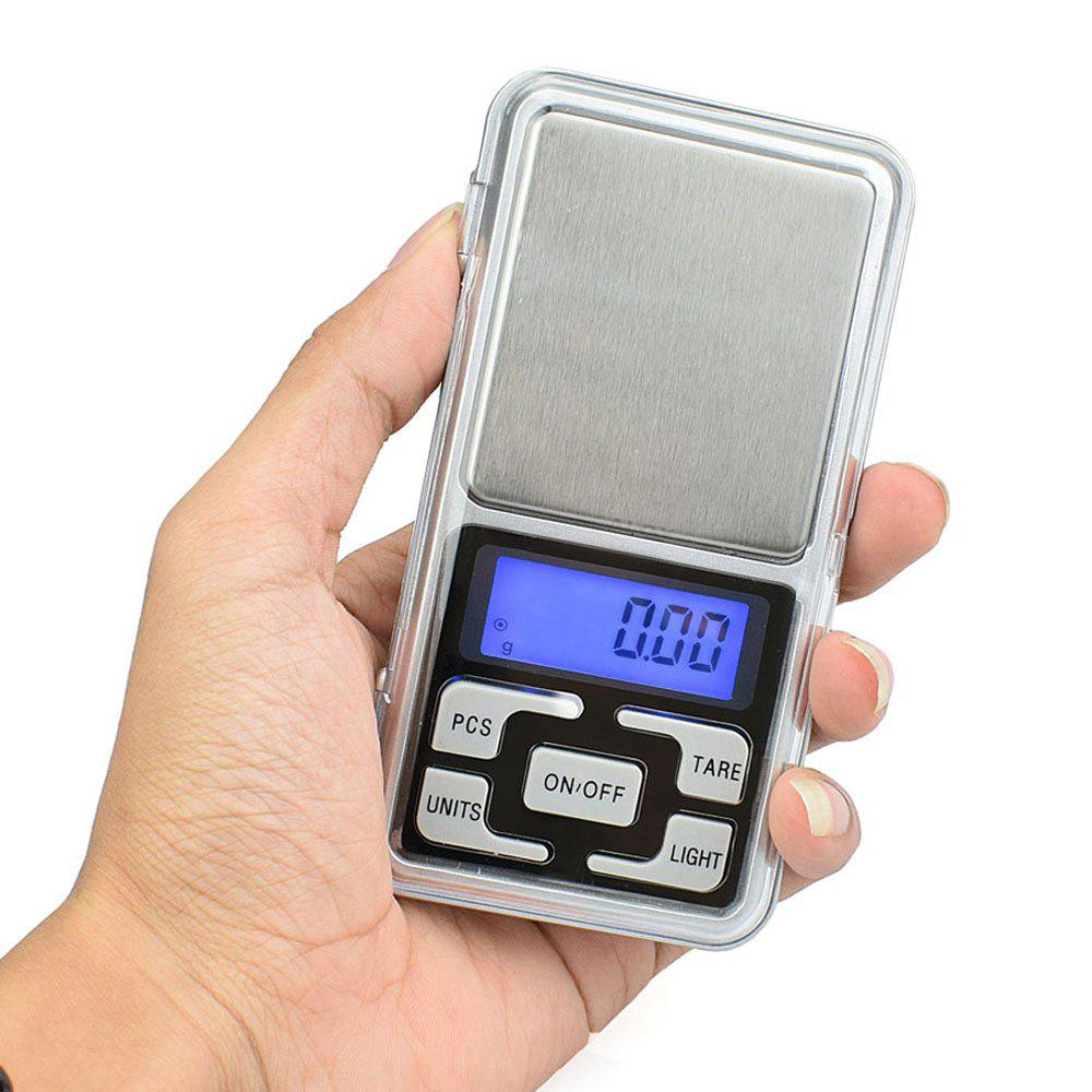 500g/0.1g Mini Electronic Digi Mini Electronic Digital Pocket Scale Jewelry Weighing Balance Counting Function Blue LCD - SILVER