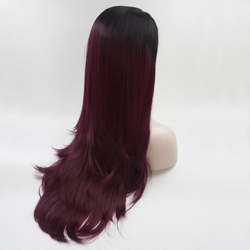 16 - 24 inch Burgundy Color Black Root Long Straight Style Heat Resistant Synthetic Hair Lace Front Wigs for Women - BURGUNDY/BLACK 18INCH
