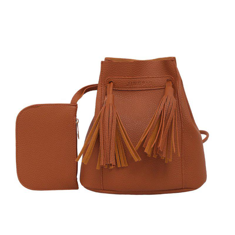 Wild Messenger Portable Two-Piece Bucket Bag - BROWN