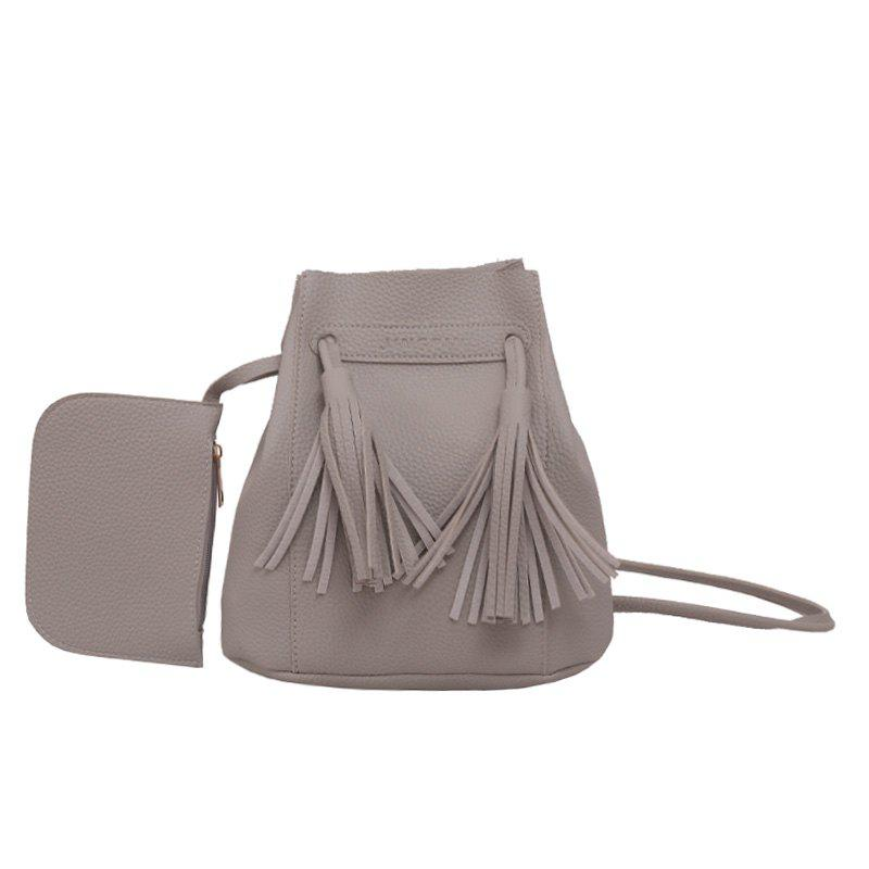 Wild Messenger Portable Two-Piece Bucket Bag - GRAY