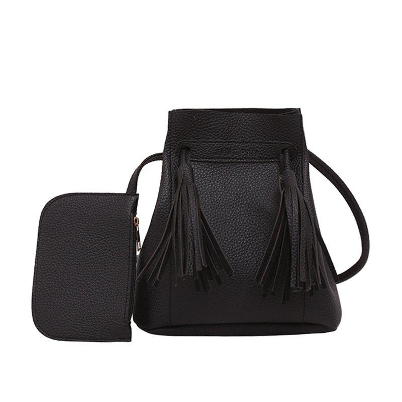 Wild Messenger Portable Two-Piece Bucket Bag - BLACK