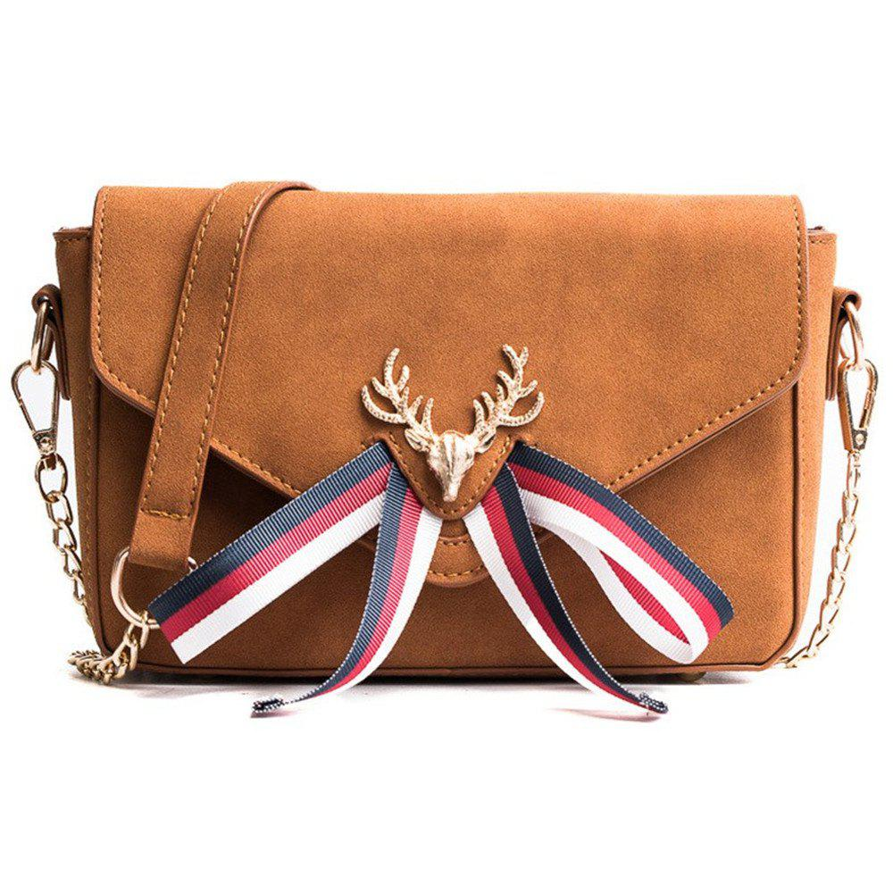 Cute Small Shoulder Messenger Square Wind Bag Woman Meng - BROWN