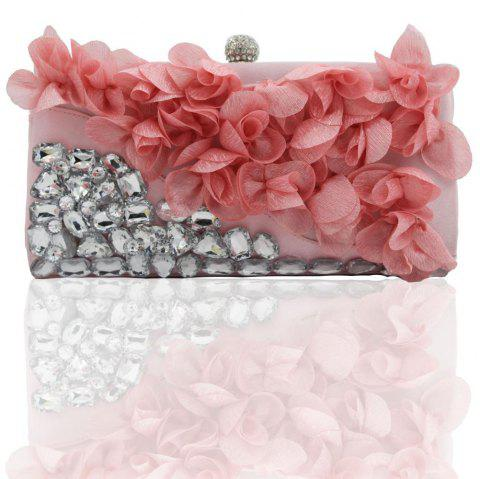 2018 Direct Selling Top Women Floral Hasp Diamond Satin Flower Evening Clutch Bag - PINKM