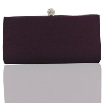 2018 Direct Selling Top Women Floral Hasp Diamond Satin Flower Evening Clutch Bag - PURPLE