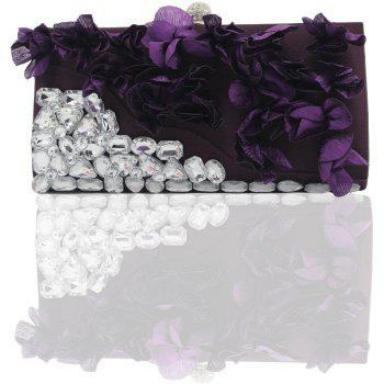 2018 Direct Selling Top Women Floral Hasp Diamond Satin Flower Evening Clutch Bag - PURPLES PURPLES