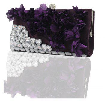 2018 Direct Selling Top Women Floral Hasp Diamond Satin Flower Evening Clutch Bag - PURPLES