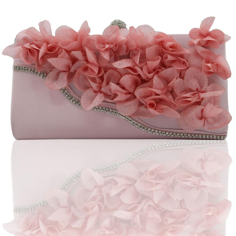 2018 Direct Selling Top Women Floral Hasp Diamond Satin Flower Evening Clutch Bag - PINK